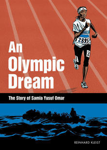 book cover with graphic of runner