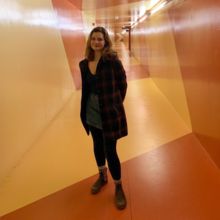student in campus tunnels