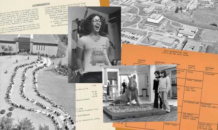 collge of photos including building and person wearing Artsy t-shirt