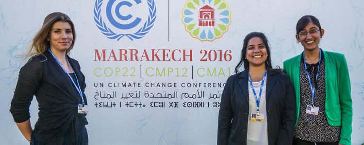 three UWaterloo students at COP22 in Morocco