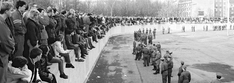 historical photo of people and police standoff in Germany