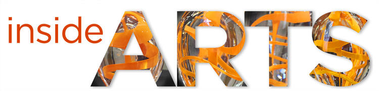 The word ARTS with glass and orange swirls inset in each letter