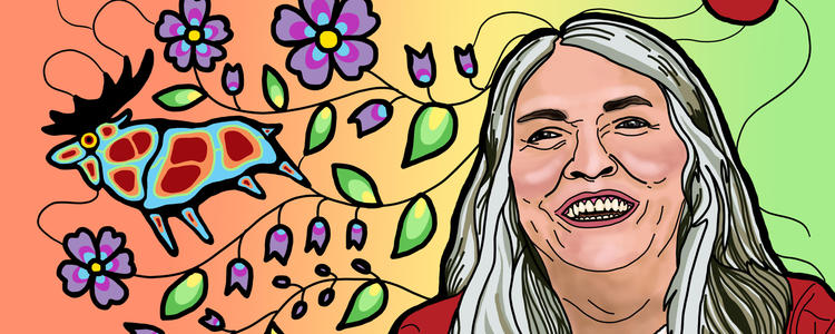 Lee Maracle illustration with animals and flowers