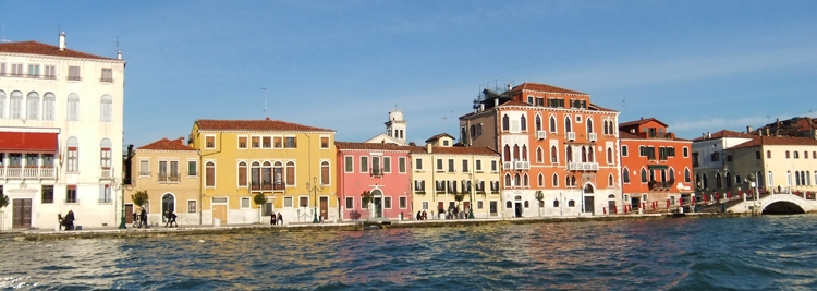 Buildings in Venice on the water.