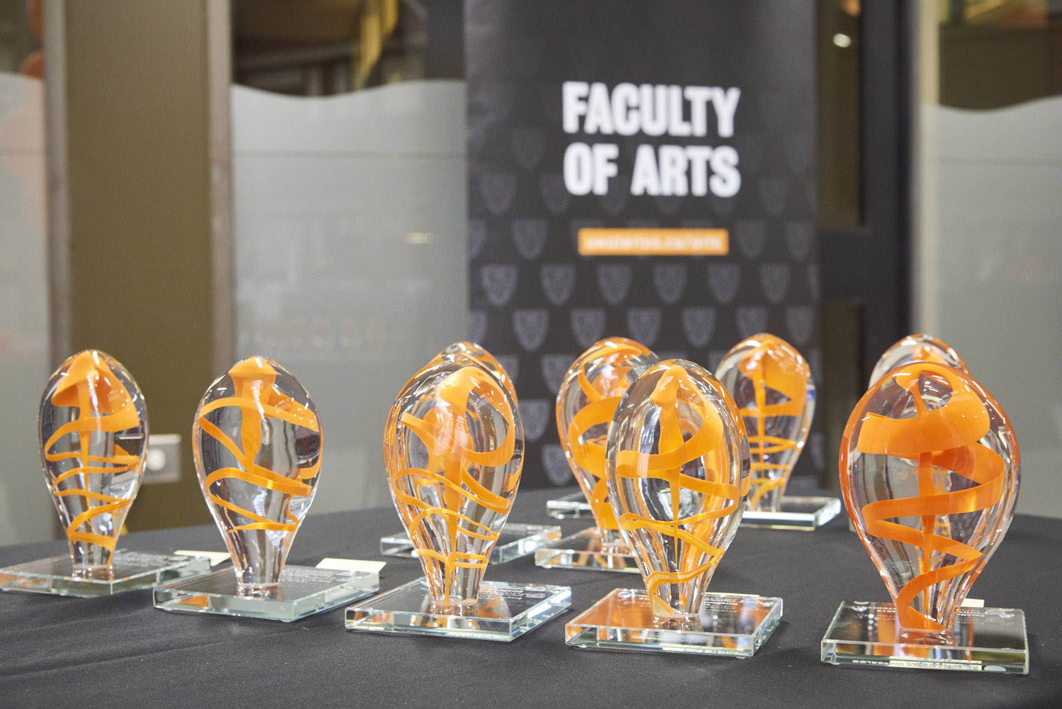 Arts Awards sculptures lined up