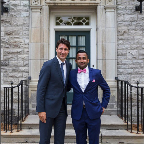 Prime Minister Justin Trudeau smiles with student Zuhair Zaidi