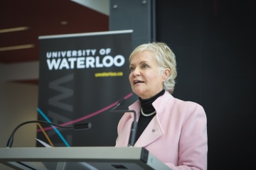 Ginny Dybenko speaks at the Stratford Campus grand opening, Oct. 2012.