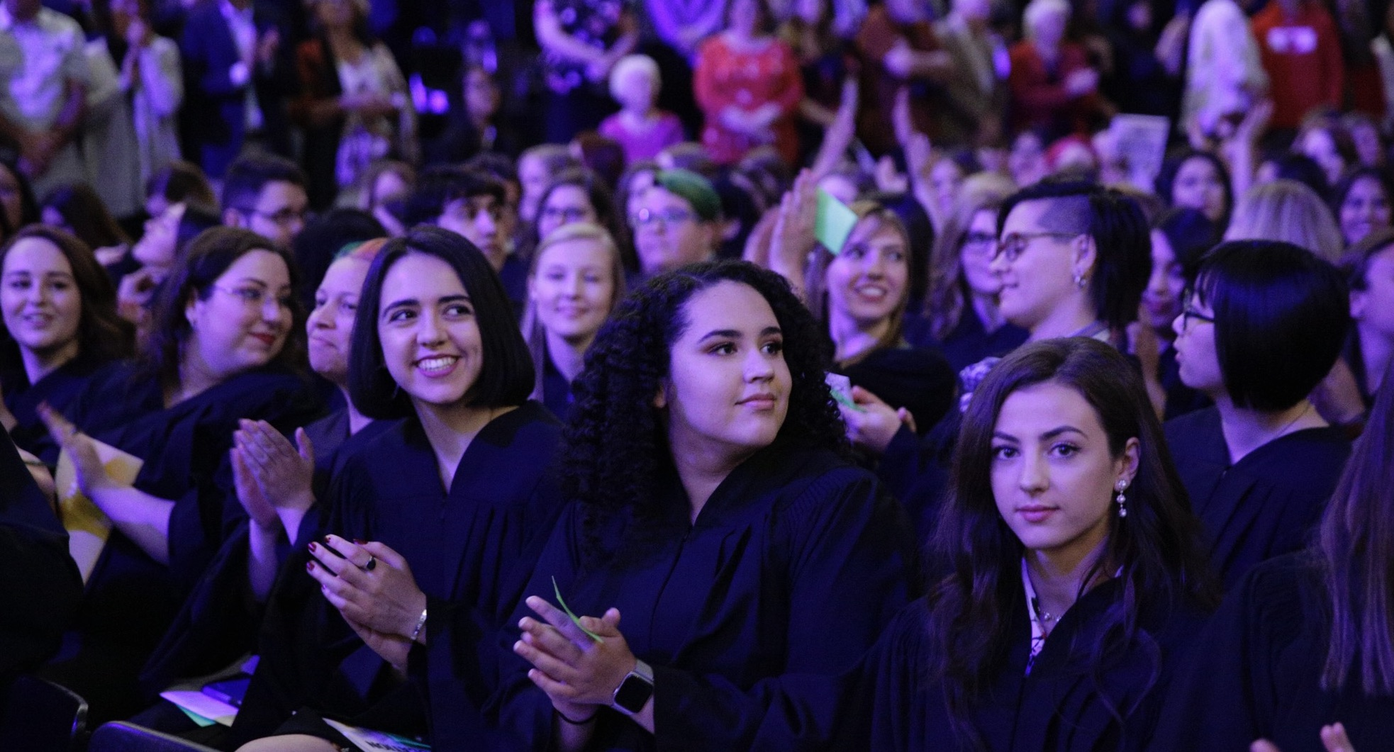 Undergraduate students in robes at convocation ceremony