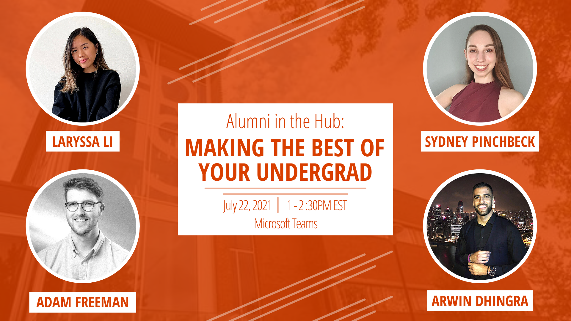 Graphic that states the event time and date along with the alumni speakers that are being featured