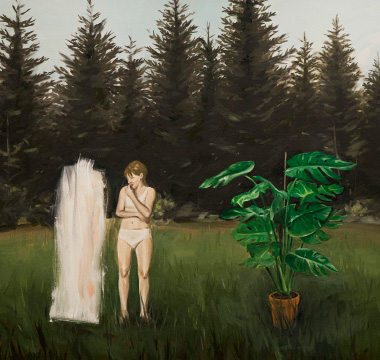 painting of woman and trees and ghost-like figure