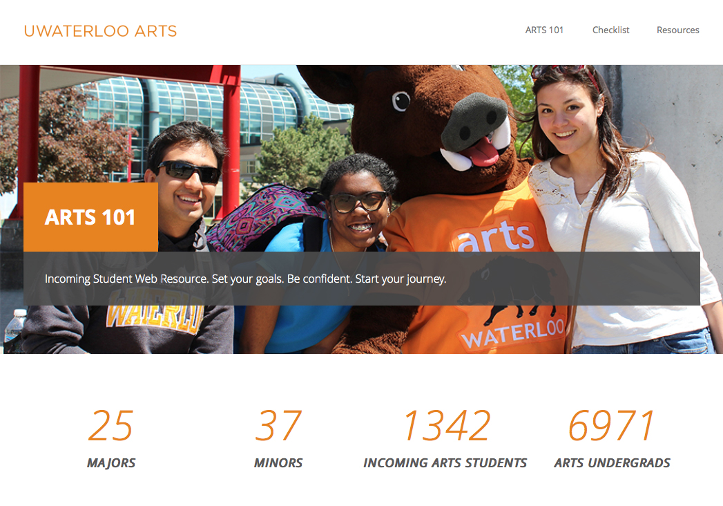 Arts 101 website homepage