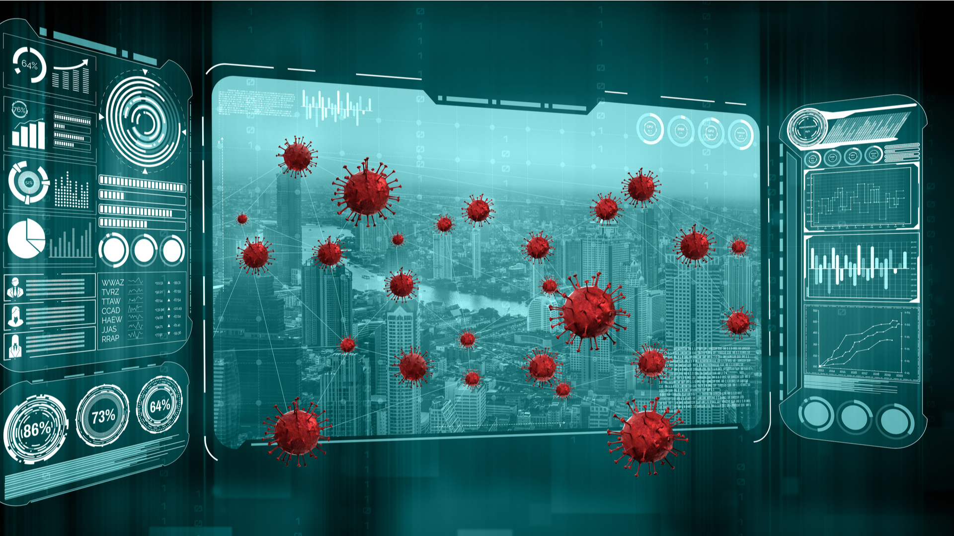 computer screens and COVID-19 virus
