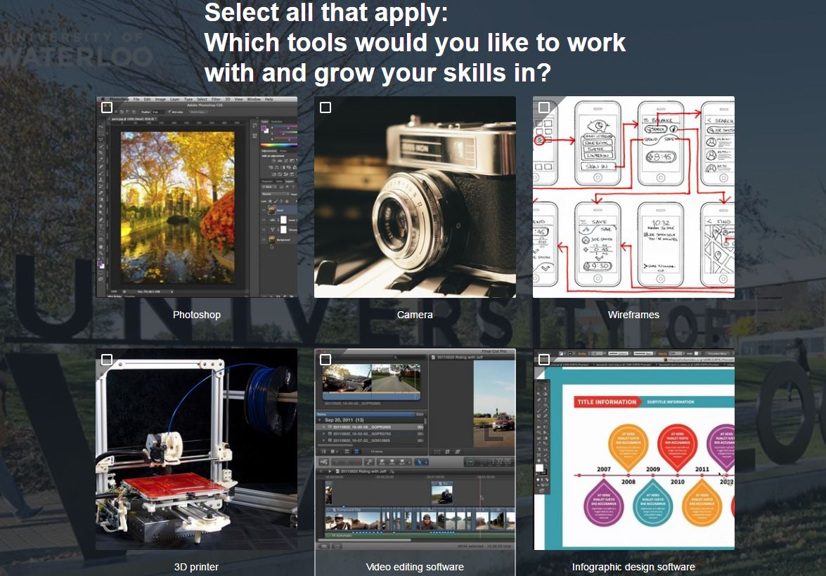 Screen shot of quiz page with picture boxes showing digital media tools
