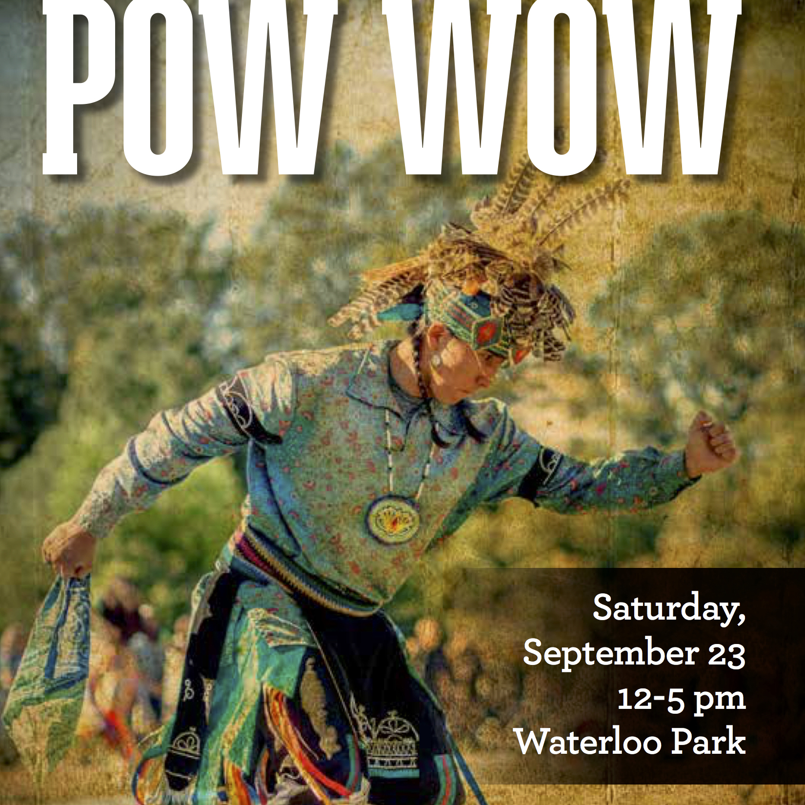 Indigenous dancer on Pow Wow poster detail