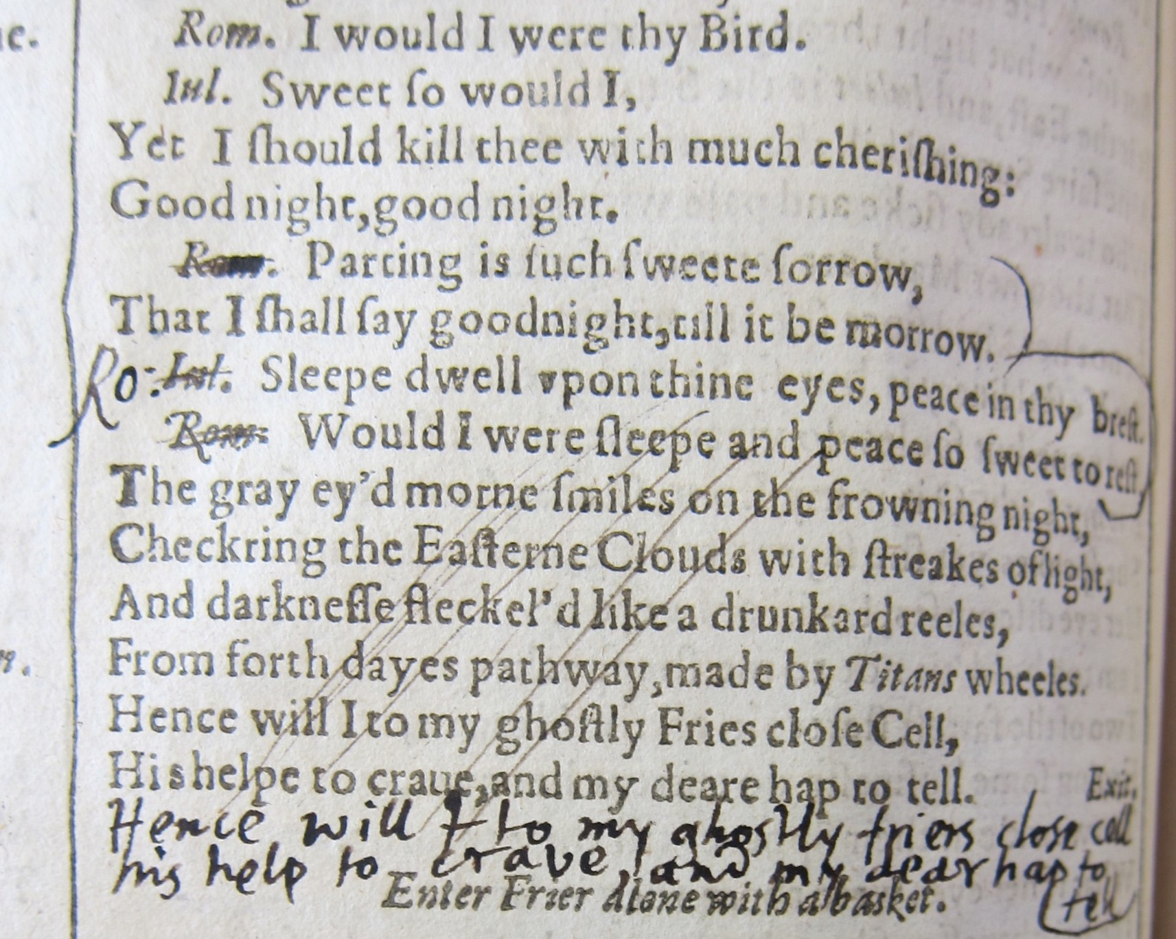 detail of Milton's notes in Romeo and Juliet of the First Folio