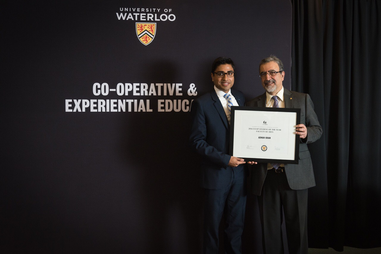 student Adnan Khan with President of Waterloo
