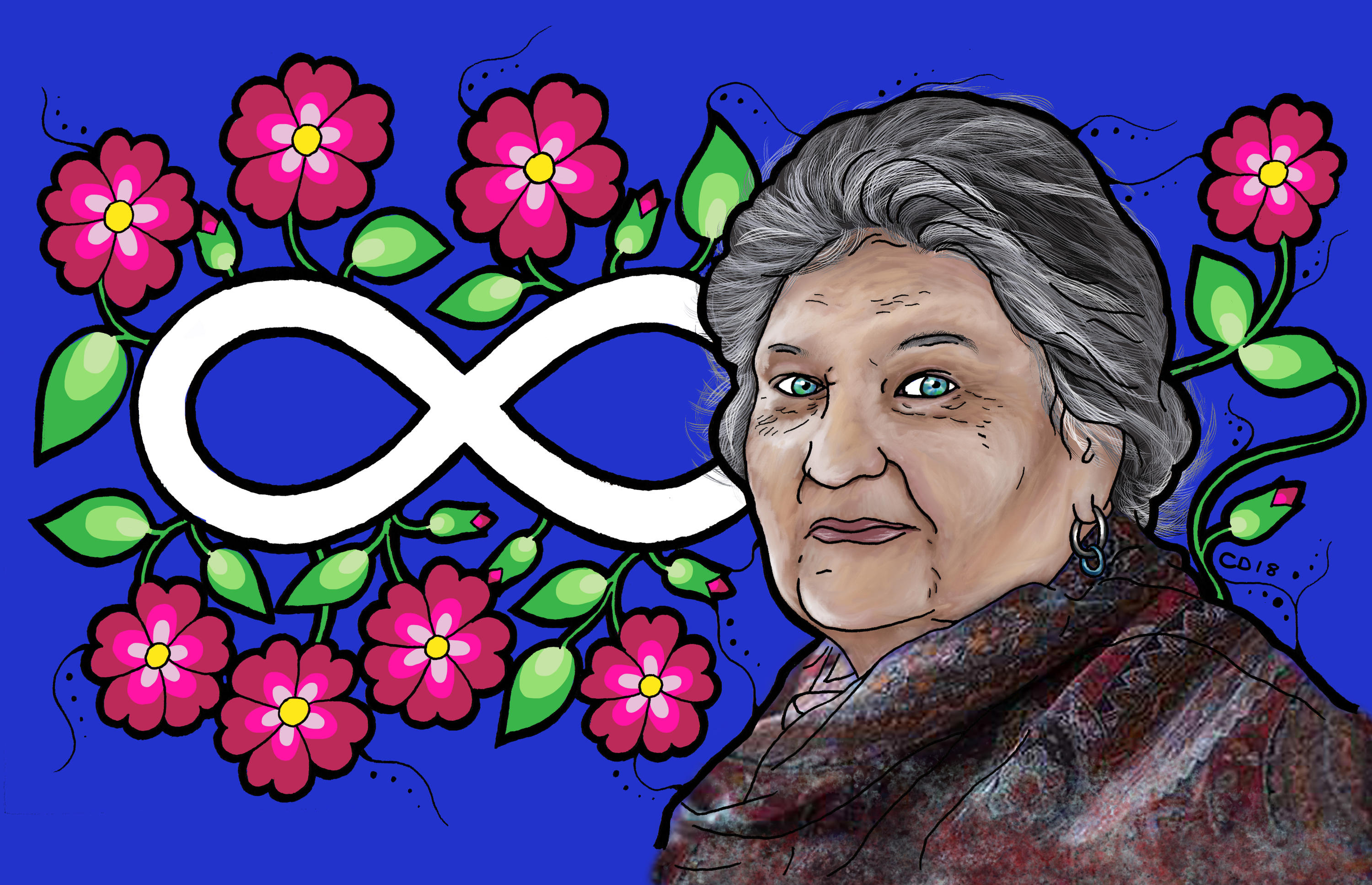 illustration of Maria Campbell with flowers and helix design