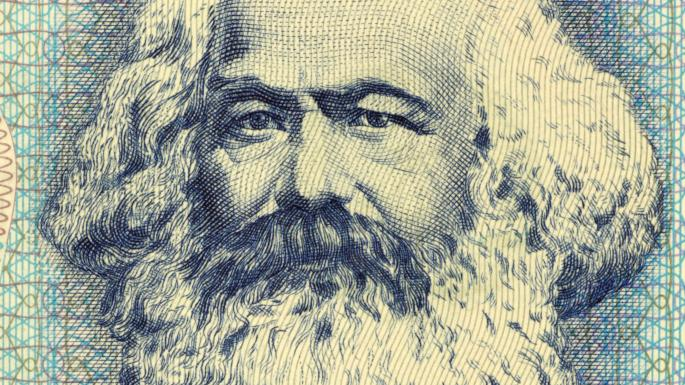Image of Karl Marx on old banknote