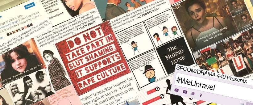 banner with media collage on rape culture