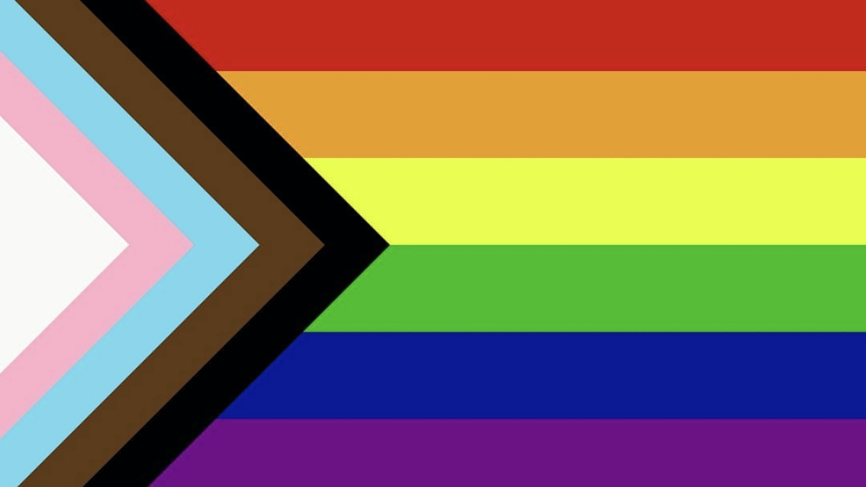 Progressive Pride flag with rainbow and transgender colours