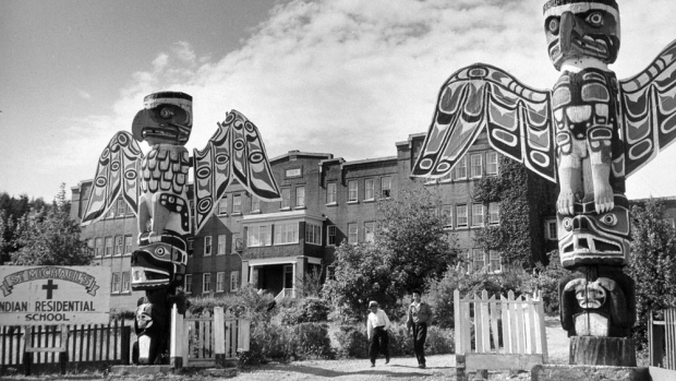 archival image of residential school with totem poles in front of old building