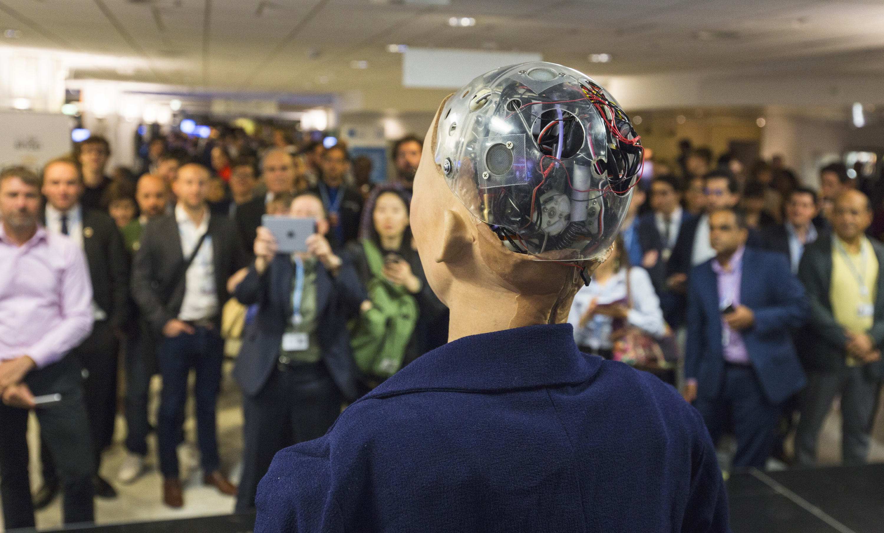 Sophia the robot speaking to crowd at the AI for GOOD Global Summit