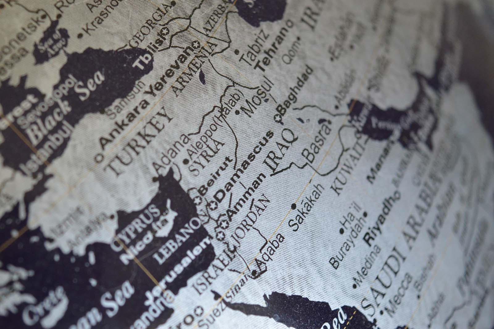 close-up on map of Syria and area