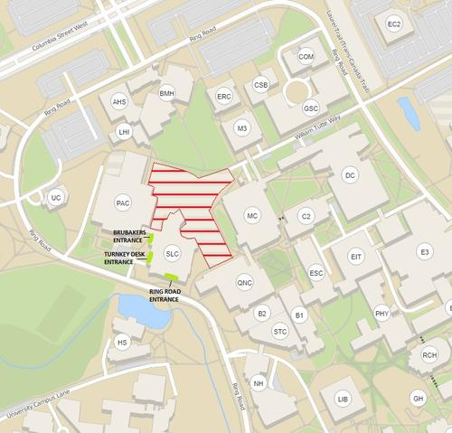 map showing alternate entrances to the Student Life Centre