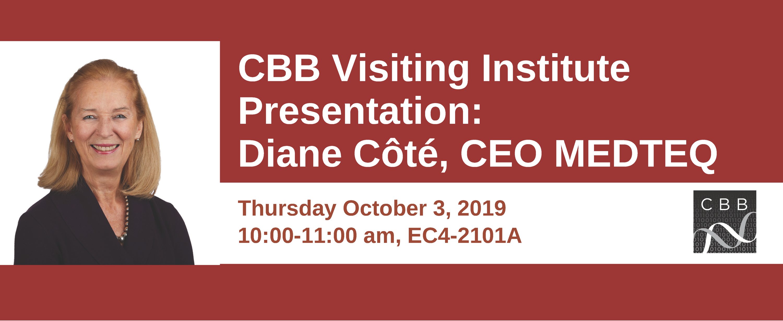 Diane Cote picture with CBB Visiting Institute Presentation logo