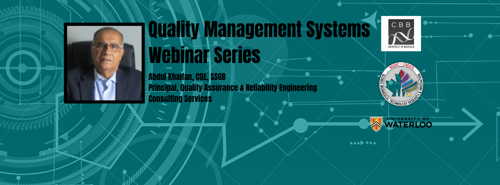 Quality Management Systems Webinar Series with picture of Abdul Khalfan