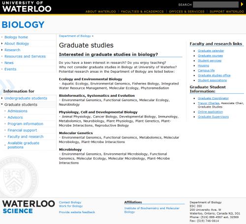 biology graduate studies website screen shot