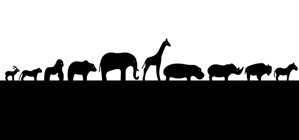 Silhouette of animals marching in single file.