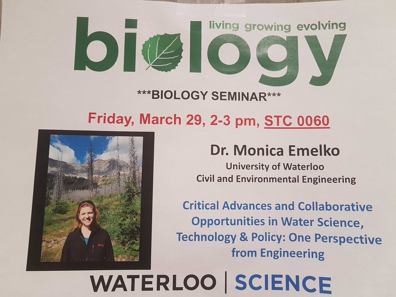 Biology Seminar with Dr. Monica Emelko poster
