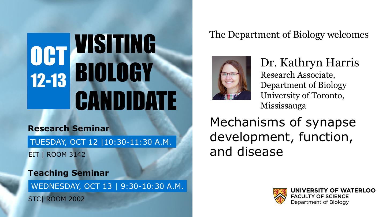 Visiting Biology Candidate: Dr. Kathryn Harris