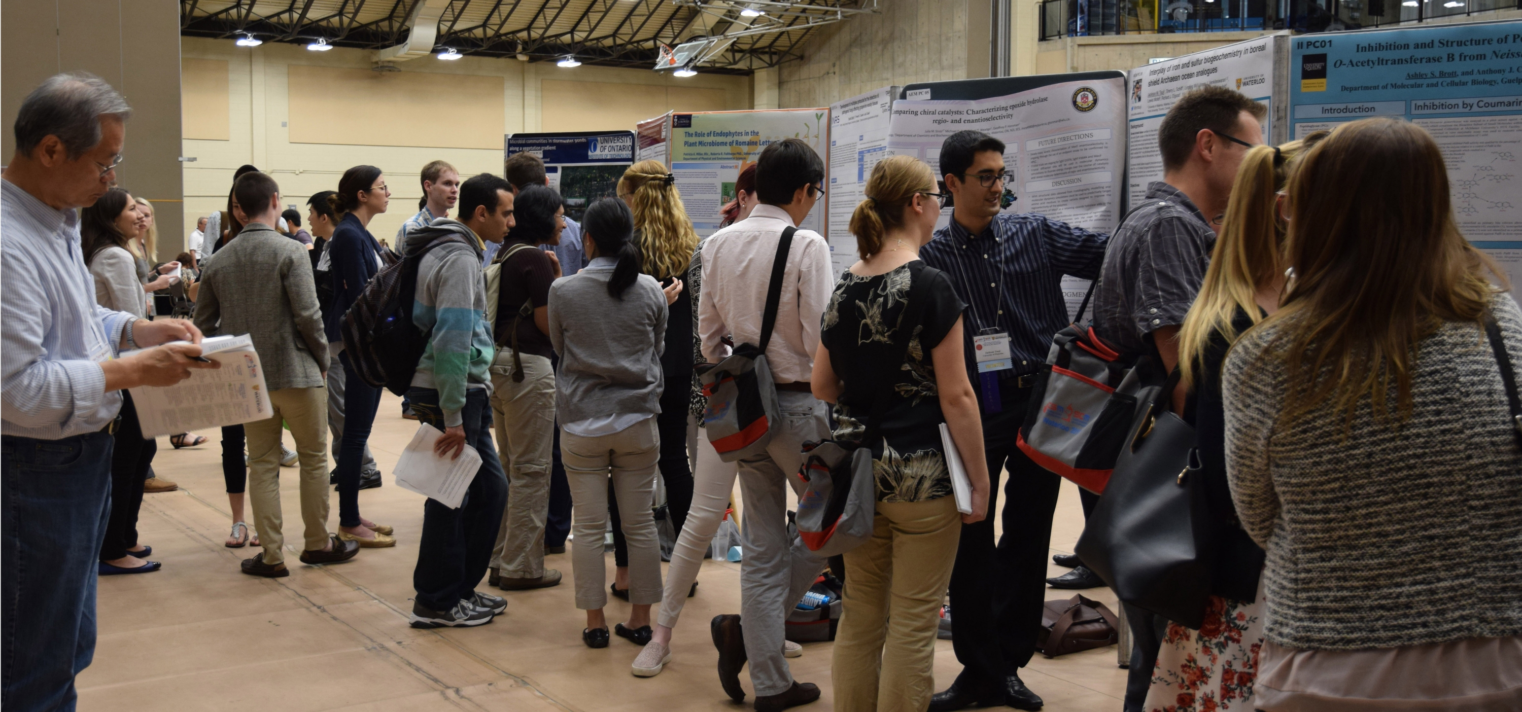 The poster session at the 2017 Canadian Society of Microbiologists conference.