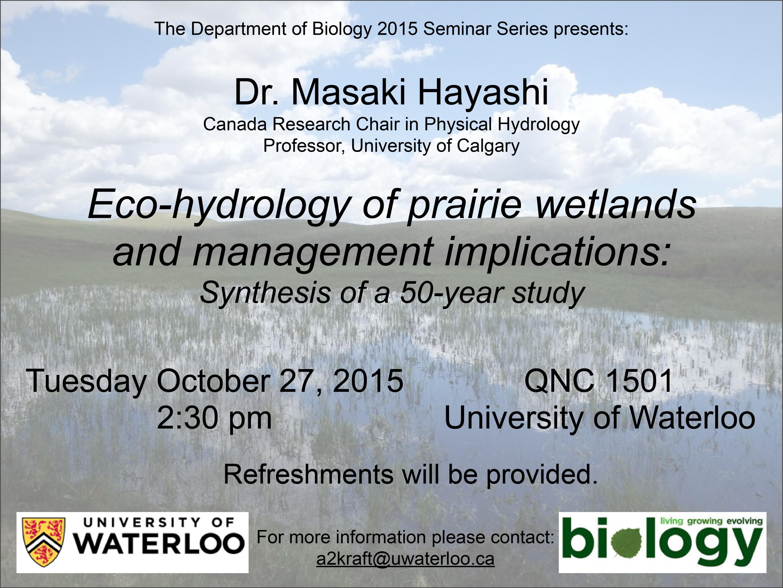 Poster for the Biology 2015 Seminar Series with Dr. Masaki Hayashi