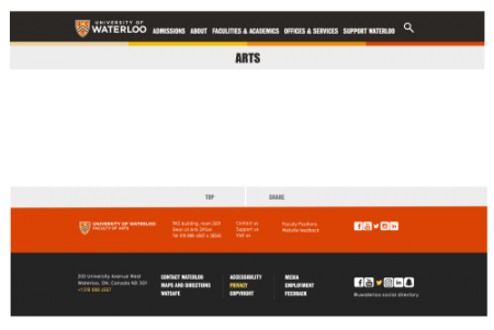 Sample layout, Faculty of Arts webpage