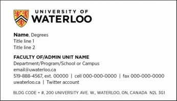 Business card front showing layout of logo and information