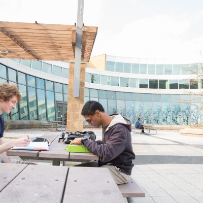 Students studying outside of the Student Life Centre