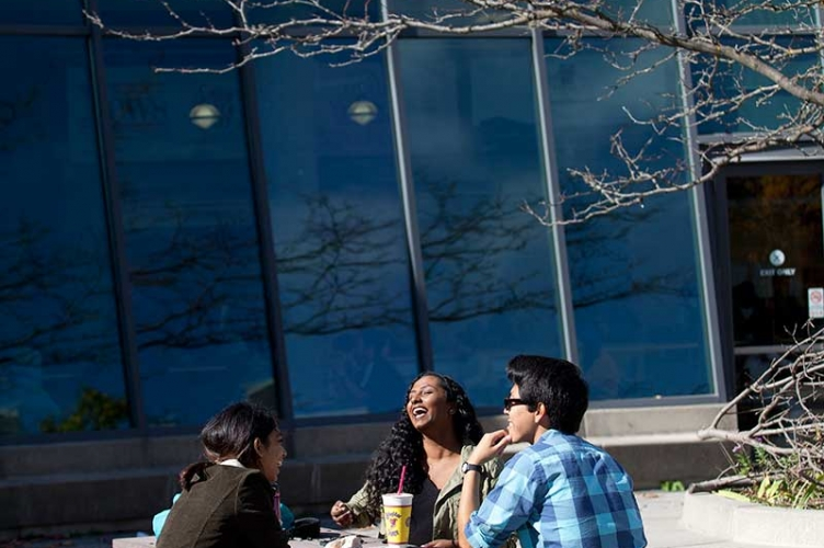 Students talking outside of the Student Life Centre