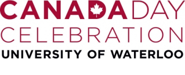 Canada Day event logo showing placement of Waterloo wordmark