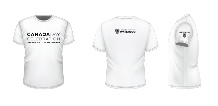 T-shirt example showing black logos on a white background