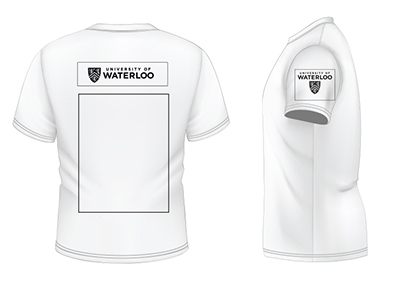 T-shirt back and side showing logo placement described in accompanying text