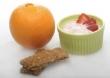 Orange, bowl of yogurt, granola bars