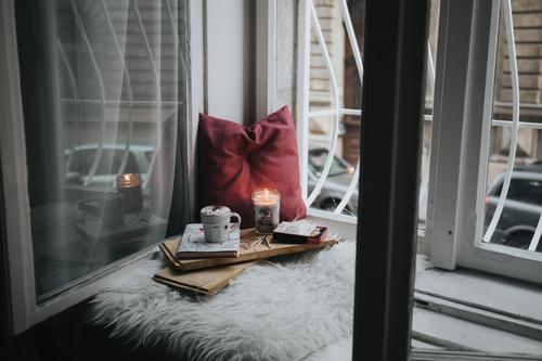 window sill and candle