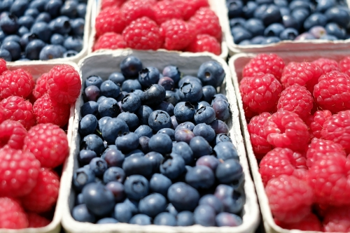 Blueberries and raspberries in cartons