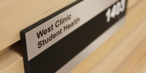 Sign that reads West Clinic Student Health