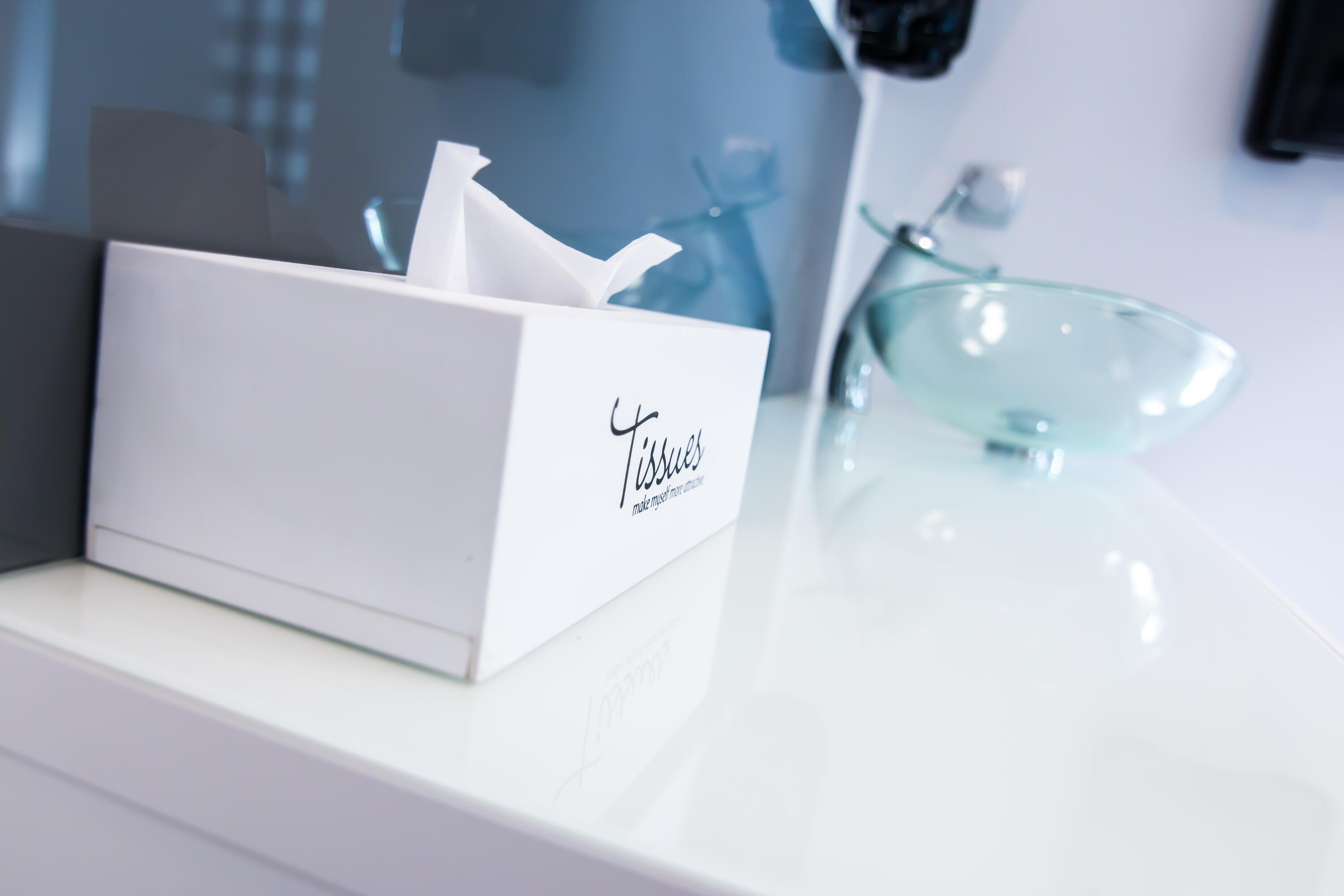 tissue box and sink