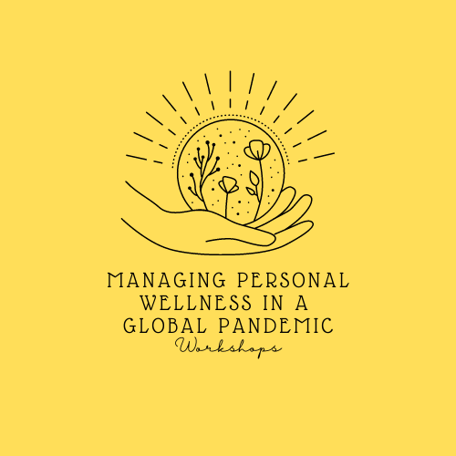 Icon of a hand holding some plants. Text: Managing Personal Wellness in a Global Pandemic