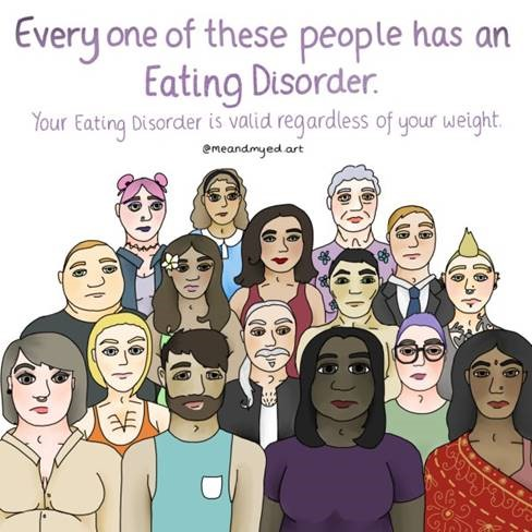 Group of people together - Every one of these people has an eating disorder - your eating disorder is valid regardless